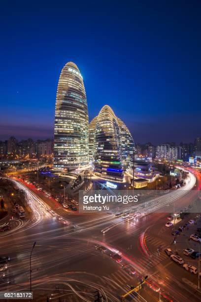 Wangjing SOHO, Beijing, at night