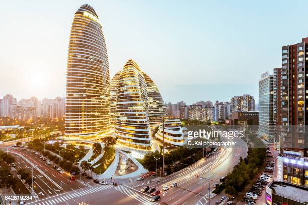 wangjing soho in beijing, china - beijing province stock photos and pictures