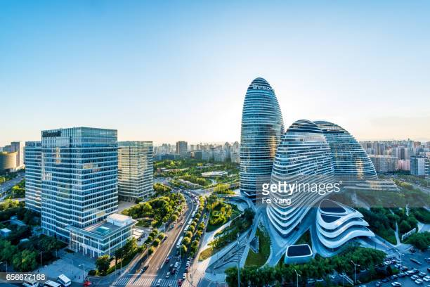 wangjing soho in beijing, china - beijing stock pictures, royalty-free photos & images