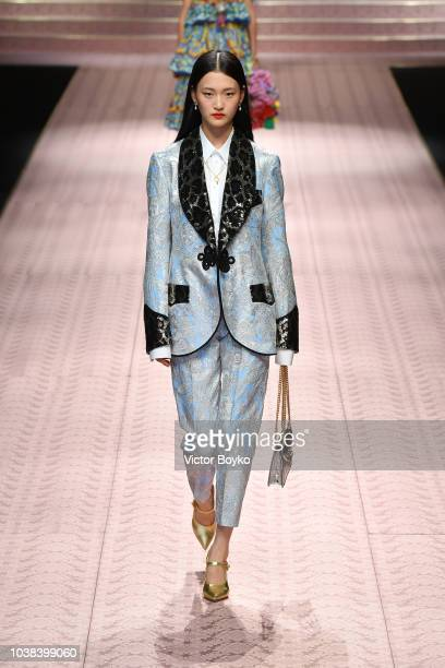 Wangy Wang walks the runway at the Dolce Gabbana show during Milan Fashion Week Spring/Summer 2019 on September 23 2018 in Milan Italy