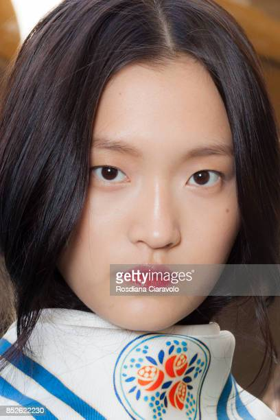 Wangy Xin Yu is seen ahead of the Philosophy By Lorenzo Serafini show during Milan Fashion Week Spring/Summer 2018 on September 23 2017 in Milan Italy