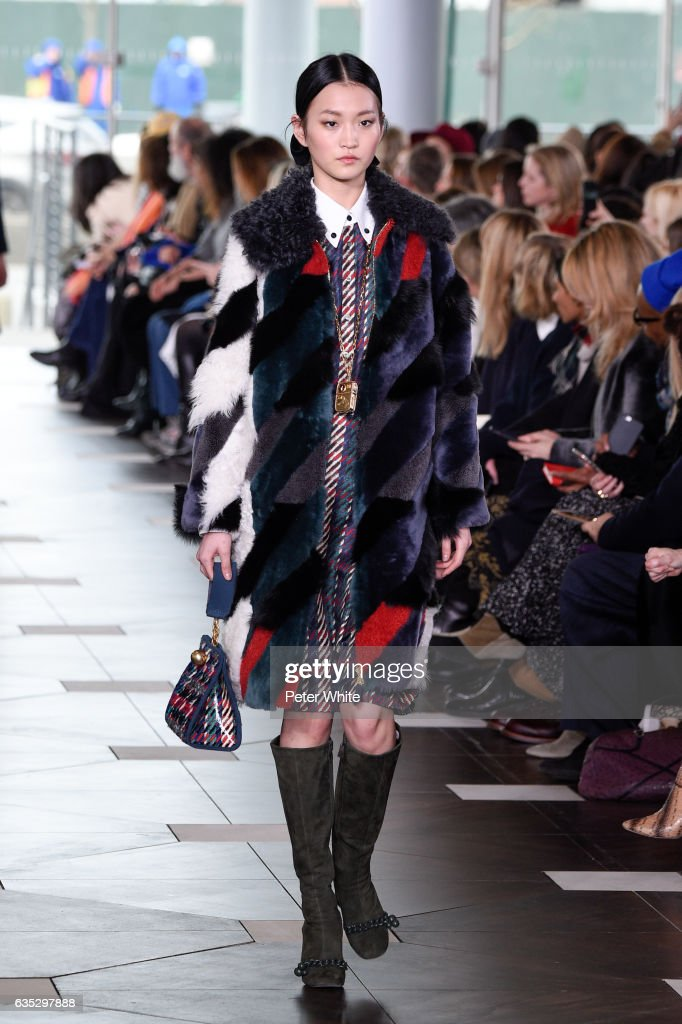 Wangy Xin Yu walks the runway at the Tory Burch FW17 Show during New York Fashion Week at at The Whitney Museum of American Art on February 14, 2017 in New York City.