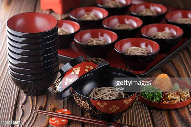wanko-soba - iwate prefecture stock photos and pictures
