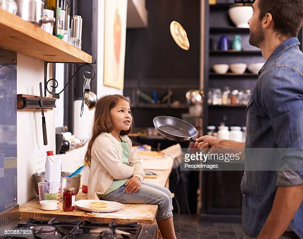 wanna see dad do a trick? - pancake stock pictures, royalty-free photos & images