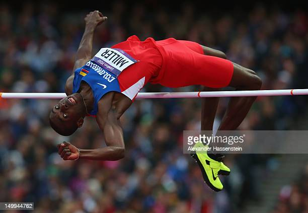 Wanner Miller of Colombia competes in the Men's High Jump Final on Day 11 of the London 2012 Olympic Games at Olympic Stadium on August 7 2012 in...