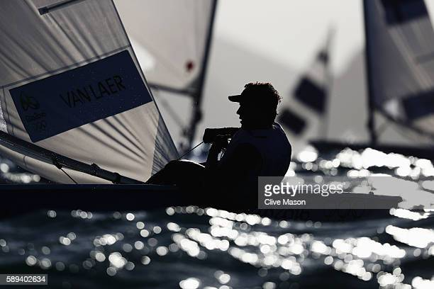 Wannes van Laer of Belgium competes in the Men's Laser class on Day 8 of the Rio 2016 Olympic Games at the Marina da Gloria on August 13 2016 in Rio...