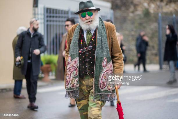 Wanny Antonio Di Filippo is seen during the 93 Pitti Immagine Uomo at Fortezza Da Basso on January 9 2018 in Florence Italy