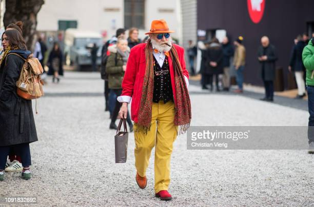 Wanny Antonio Di Filippo is seen during the 95th Pitti Uomo at Fortezza Da Basso on January 09 2019 in Florence Italy
