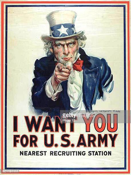 I want YOU for the US Army First World War recruitment poster showing Uncle Sam facing foward pointing his finger and appealing to patriotism