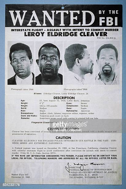 FBI Wanted Poster for Eldridge Cleaver who jumped bail following a shootout with the Oakland police