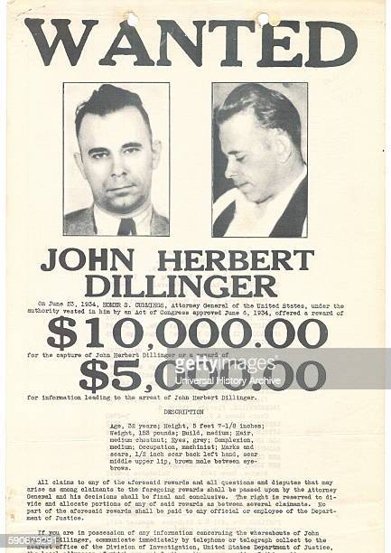 Wanted poster for John Herbert Dillinger American gangster in the Depressionera United States Dated 1934