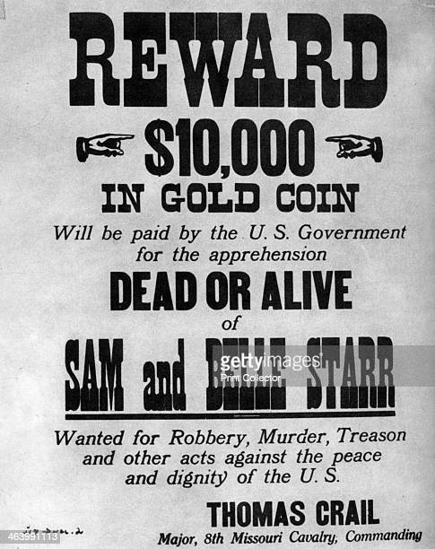 Wanted poster for the outlaws Sam and Belle Starr c18801886 Belle Starr was a famous female outlaw In 1880 she married a Cherokee Indian Sam Starr...