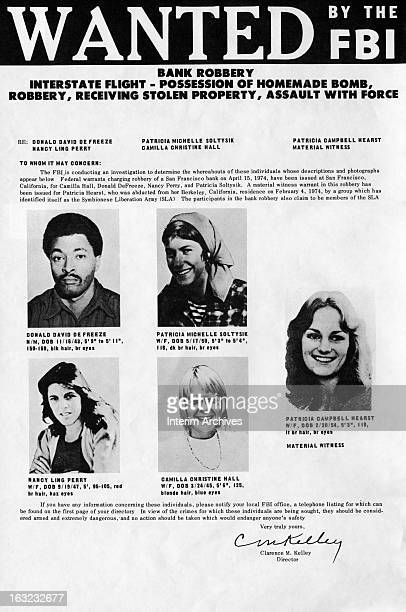 FBI wanted poster of Donald David DeFreeze Patricia Michelle Soltysik Nancy Ling Perry Camilla Christine Hall and Patricia Campbell Hearst May 20...