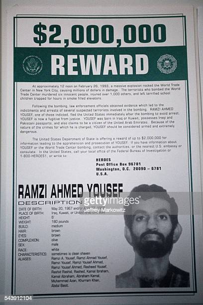 Wanted poster of Ramzi Ahmed Youssef one of the planners of the 1993 World Trade Center bombing