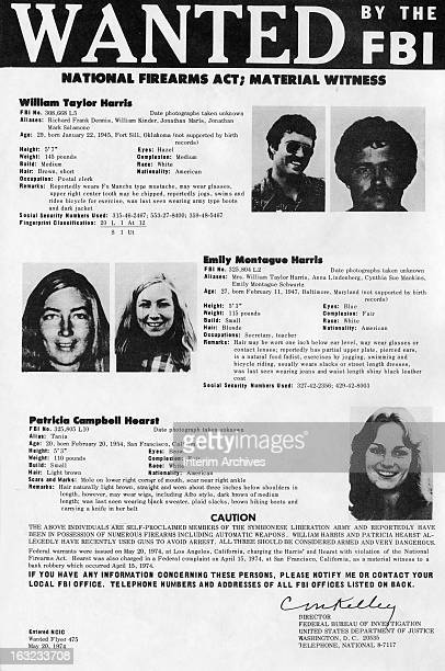 FBI wanted poster of William Taylor Harris Emily Montague Harris and Patricia Campbell Hearst May 20 1974 Hearst was kidnapped by the Symbionese...