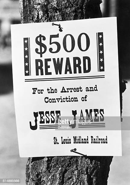A wanted poster offering a '$500 Reward For the Arrest and Conviction of Jesse James St Louis Midland Railroad'