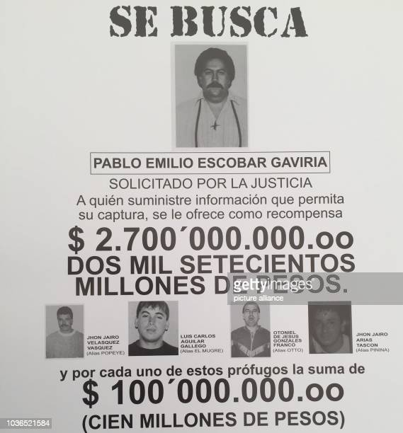 A wanted poster which shows Pablo Escobar and his accomplice Jhon Jairo Velasquez in Medellin Colombia 7 March 2017 Popeye killed more than 250...