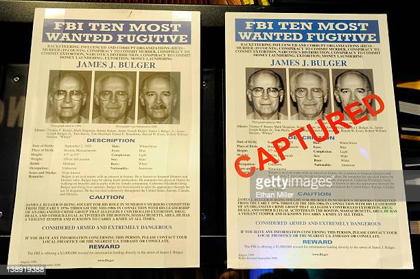 Wanted posters for James Bulger are displayed at The Mob Museum February 13, 2012 in Las Vegas, Nevada. The museum, also known as the National Museum...