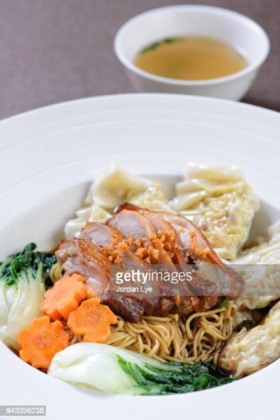 Wanton noodles served dry