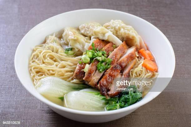 Wanton noodles served in chicken broth