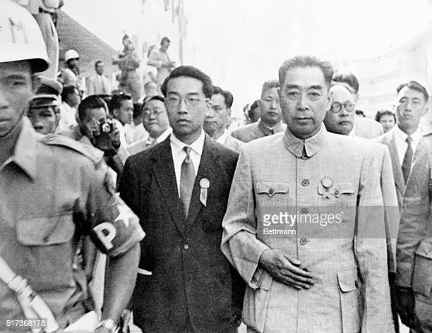 Wants No War with United States Bandung Java Indonesia Pokerfaced Premier Chou EnLai of Red China is shown surrounded by bodyguards as he walked...