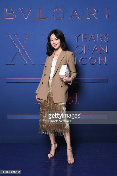 Wanwan attends the Bvlgari - B.ZERO1 XX Anniversary Global Launch Event at Auditorium Parco Della Musica on February 19, 2019 in Rome, Italy.
