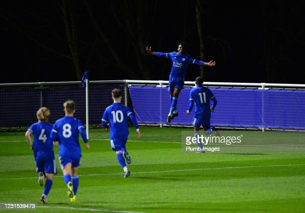 Wanya Madivadua of Leicester City celebrates scoring the first goal for Leicester City with team mates during Leicester City v Sheffield Wednesday:...