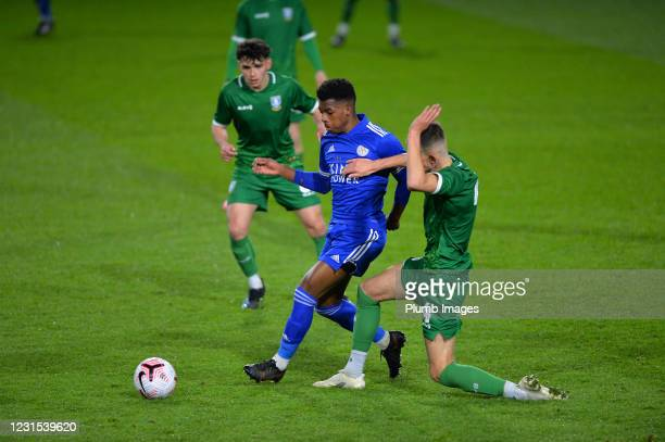 Wanya Madivadua of Leicester City with Jay Glover of Sheffield Wednesday during Leicester City v Sheffield Wednesday: FA Youth Cup at Leicester City...