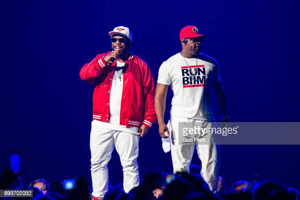 Wanya Morris and Nathan Morris of Boyz II Men perform during 'The Total Package Tour' at KeyArena on June 7 2017 in Seattle Washington