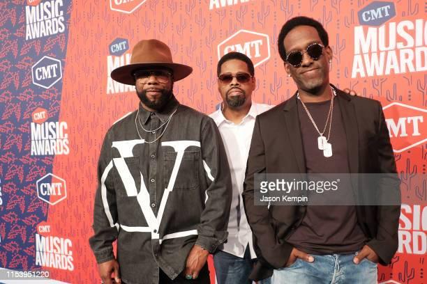 Wanya Morris Nathan Morris and Shawn Stockman of Boyz II Men attend the 2019 CMT Music Award at Bridgestone Arena on June 05 2019 in Nashville...