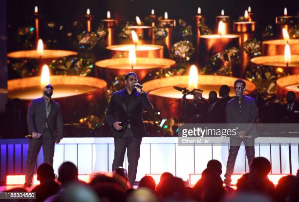 Wanya Morris Nathan Morris and Shawn Stockman of Boyz II Men perform onstage at the 2019 Soul Train Awards presented by BET at the Orleans Arena on...