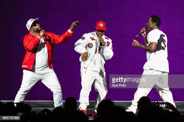 Wanya Morris Nathan Morris and Shawn Stockman of Boyz II Men perform during 'The Total Package Tour' at KeyArena on June 7 2017 in Seattle Washington