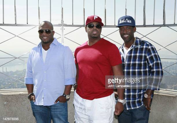 Wanya Morris Nathan Morris and Shawn Stockman of Boyz II Men visit The Empire State Building on April 16 2012 in New York City