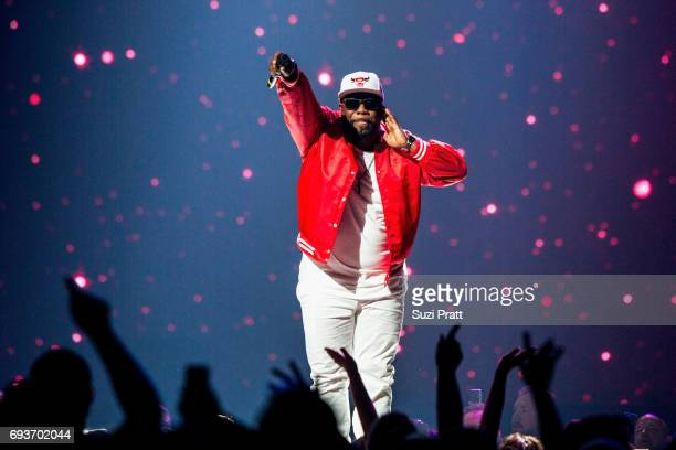 Wanya Morris of Boyz II Men performs during 'The Total Package Tour' at KeyArena on June 7 2017 in Seattle Washington