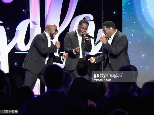 Wanya Morris Shawn Stockman and Nathan Morris of the group Boyz II Men perform onstage at the 2018 Make A Wish Gala at The Beverly Hilton Hotel on...
