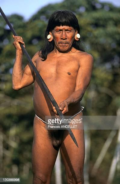 Waorani indian in Amazonia Ecuador Hunting in the jungle Rio Cononaco