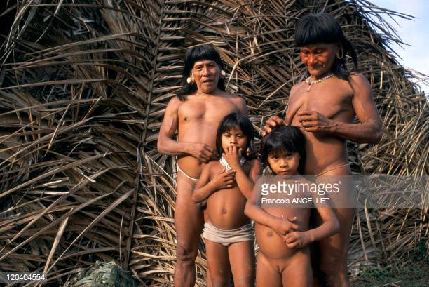 Waorani indian in Amazonia Ecuador Hunting in the jungle Rio Cononaco