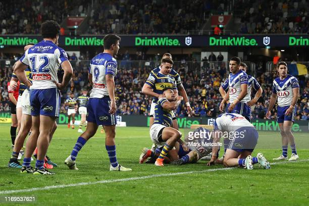 Waqa Blake of the Eels celebrates scoring a try during the round 23 NRL match between the Parramatta Eels and the Canterbury Bulldogs at Bankwest...