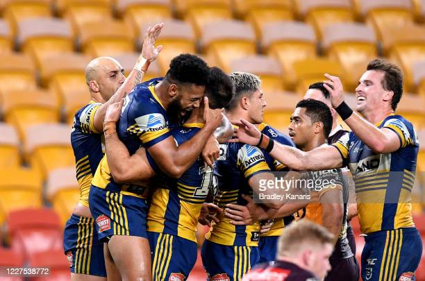 Waqa Blake of the Eels celebrates scoring a try during the round three NRL match between the Brisbane Broncos and the Parramatta Eels at Suncorp...