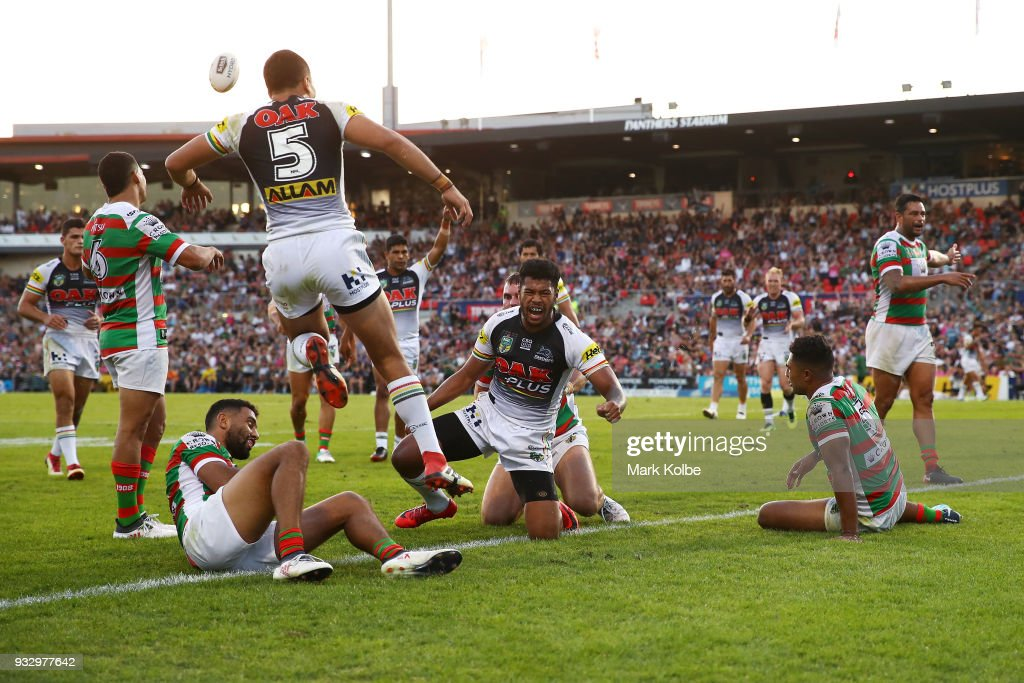 Waqa Blake of the Panthers celebrates scoring a try during the round two NRL match between the Penrith Panthers and the South Sydney Rabbitohs at Penrith Stadium on March 17, 2018 in Sydney, Australia.