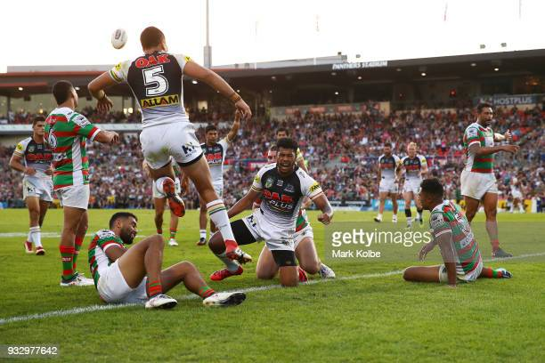 Waqa Blake of the Panthers celebrates scoring a try during the round two NRL match between the Penrith Panthers and the South Sydney Rabbitohs at...