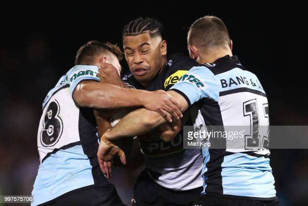 Waqa Blake of the Panthers is tackled during the round 18 NRL match between the Panthers and the Sharks at Panthers Stadium on July 13 2018 in...
