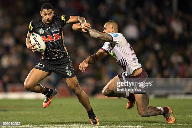 Waqa Blake of the Panthers makes a break during the round 26 NRL match between the Penrith Panthers and the Manly Sea Eagles at Pepper Stadium on...