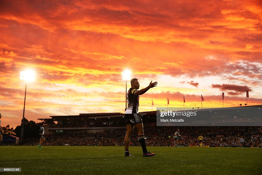 Waqa Blake of the Panthers reacts to a decsision during the round seven NRL match between the Penrith Panthers and the Cronulla Sharks at Pepper Stadium on April 16, 2017 in Sydney, Australia.