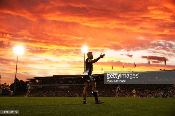 Waqa Blake of the Panthers reacts to a decsision during the round seven NRL match between the Penrith Panthers and the Cronulla Sharks at Pepper...