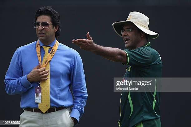 Waqar Younis coach of Pakistan in conversation with Wasim Akram ex Pakistan international and television commentator during the Canada v Pakistan...