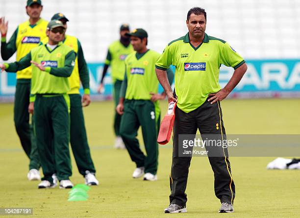 Waqar Younis Coach of Pakistan looks on during a nets session at Lords on September 19 2010 in London England