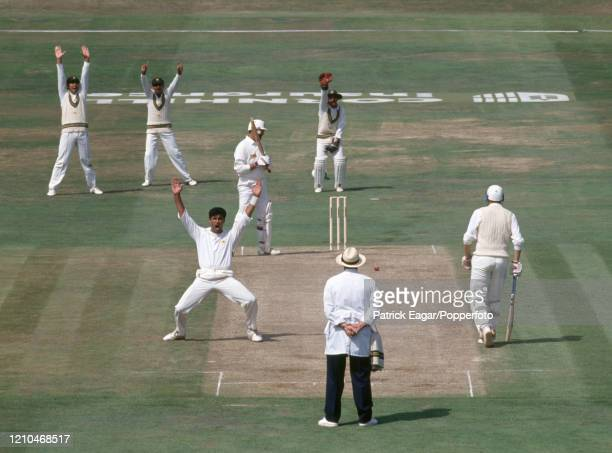 Waqar Younis of Pakistan appeals unsuccessfully for the wicket of England batsman Graham Gooch during the 4th Test match between England and Pakistan...