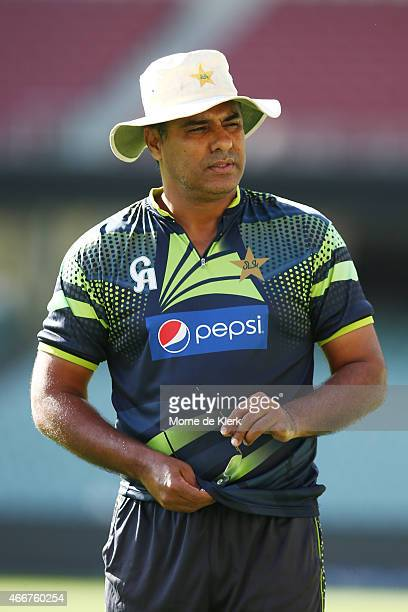 Waqar Younis of Pakistan looks on during a Pakistan nets session at Adelaide Oval on March 19 2015 in Adelaide Australia