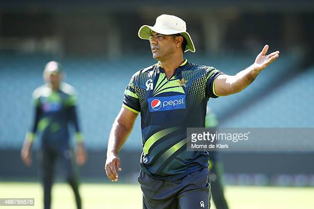 Waqar Younis of Pakistan reacts during a Pakistan nets session at Adelaide Oval on March 19 2015 in Adelaide Australia